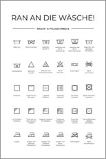 Aluminium print  Washing and care symbols (Duits) - Typobox