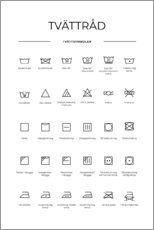 Aluminium print  Washing and care symbols (Swedish) - Typobox