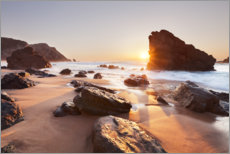 Aluminium print  Rocky beach at sunset - The Wandering Soul