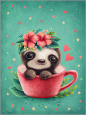 Premium poster Sweet sloth in a cup