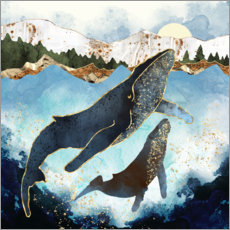 Canvas print  Whale family mother and child - SpaceFrog Designs