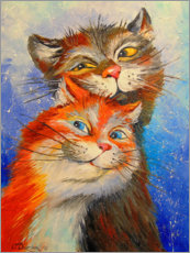 Hout print  Cats couple - Olha Darchuk