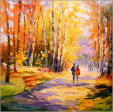 Hout print  Autumn walk in the Park - Olha Darchuk