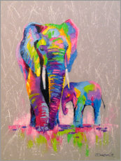 Canvas print  Elephant mother with child - Olha Darchuk
