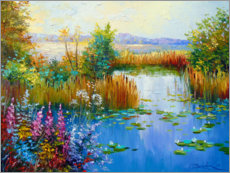 Premium poster  Flowers by the pond - Olha Darchuk