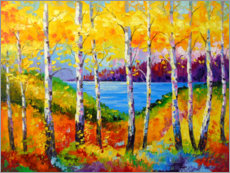 Acrylglas print  Bright birches by the river - Olha Darchuk