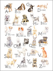 Aluminium print  Dogs from A to Z (English) - Wandering Laur