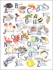 Hout print  Sea animals from A to Z (English) - Wandering Laur