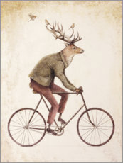 Aluminium print  Deer on the bike - Mike Koubou