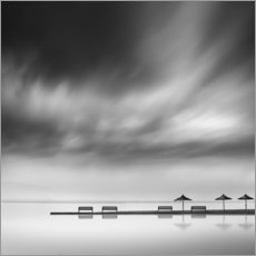 Acrylglas print  Benches and umbrellas - George Digalakis
