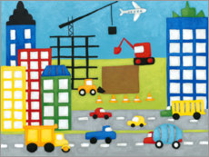 Muursticker Cars and construction site in the city