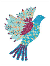 Hout print  Colorful dove - Kerstin Ax