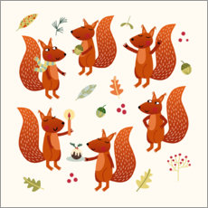 Hout print  Squirrel Party - Nic Squirrell