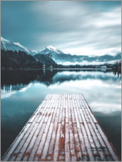 Acrylglas print  Wooden footbridge in the mountain lake - Lukas Saalfrank