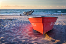 Premium poster Red boat at the Baltic Sea