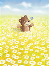 Canvas print  Bear and butterfly on flower meadow - Stefan Lohr