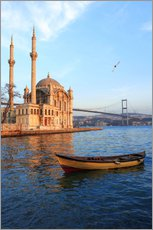 Muursticker  Rowboat and Ortakoy Mosque - Ali Kabas