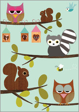 Gallery print  Happy Tree with cute animals - owls, squirrel, racoon - GreenNest