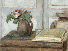 Muursticker  Still life with the artist painting set and a vase with moss roses - Edouard Vuillard