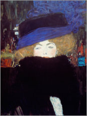 Premium poster  Woman with hat and feather boa - Gustav Klimt