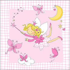 Muursticker flying fairy with butterflies on checkered background