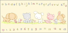 Muursticker baby pet animals with alphabet and numbers