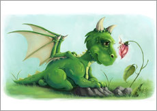 Muursticker Dragon with a little fairy