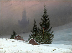 Muursticker  Winter Landscape with a Church - Caspar David Friedrich