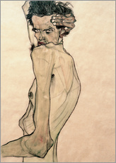 Gallery print  Egon Schiele with arm above head - Egon Schiele