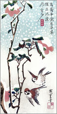 Muursticker  Snow, Moon and Flowers - Utagawa Hiroshige