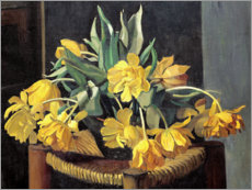 PVC print  Double Yellow Tulips on a Wicker Chair - Felix Edouard Vallotton