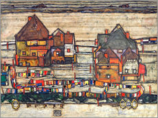 Muursticker  Houses with colorful laundry - Egon Schiele
