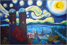 Muursticker  Starry Night over Munich inspired by Vincent Van Gogh - M. Bleichner