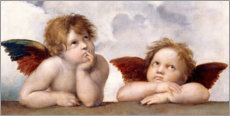 Hout print  Two Angels, detail - Raffael