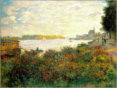 Muursticker  Red flowers on the banks of the Seine at Argenteuil - Claude Monet