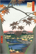 Muursticker  Maple leaves, the Tekona shrine and the bridge - Utagawa Hiroshige