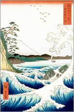 Muursticker  Sea at Satta in Suruga Province - Utagawa Hiroshige