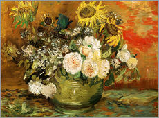 Gallery print  Roses and sunflowers - Vincent van Gogh