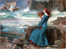 Muursticker  Miranda, the storm - John William Waterhouse