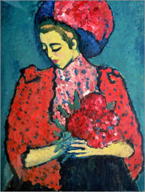 Canvas print  Girl with peonies - Alexej von Jawlensky