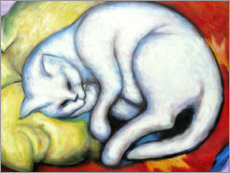 Acrylglas print  The White Cat (Tom Cat on Yellow Pillow) - Franz Marc