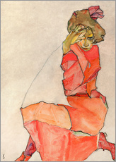 Muursticker  Kneeling Female in Orange-Red Dress - Egon Schiele