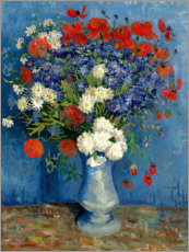 Hout print  Vase with Cornflowers and Poppies - Vincent van Gogh