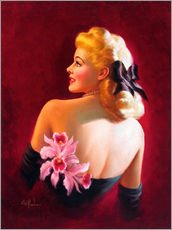 Muursticker  Glamour Pin Up with Pink Orchids - Art Frahm