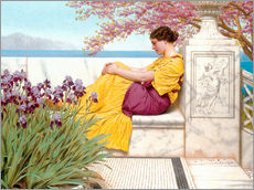Muursticker  Under The Blossom That Hangs On The Bough - John William Godward