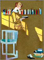 Gallery print  Reading by the bookshelf - Clarence Coles Phillips