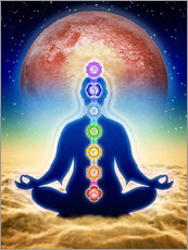 Gallery print  In meditation with chakras - red moon edition - Dirk Czarnota
