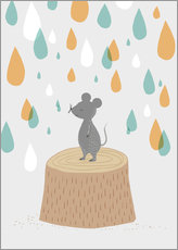 Muursticker Mouse in the colorful rain