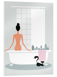 Acrylglas print  bathing kitty - Ping Lee