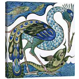 Canvas print  Heron and Fish - Walter Crane